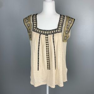 Lucky Brand | Boho Tan Square Neck Embroidered Top